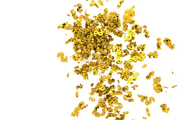 Bunch of gold money or dollar sign flow from the floor, modern style background or texture.