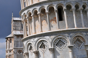 Architectural details of the Leaning Tower of Pisa Tuscany Italy.