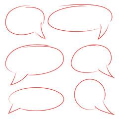 red hand drawn comic speech bubble set
