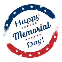 Happy Memorial Day Stars and Stripes with Brush Drawing Calligraphy