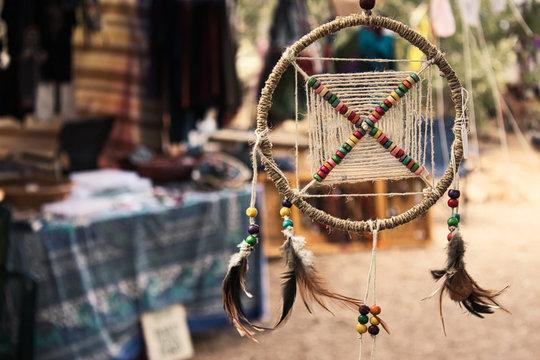 Dream catcher at a bohemian festival artisan market