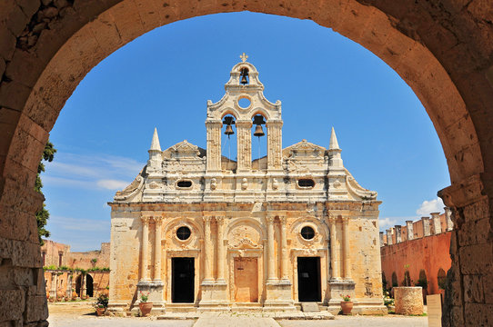 The main church of Arkadi Monastery, symbol of the struggle of Cretans against the Ottoman Empire, Rethymno, Crete, Greece.