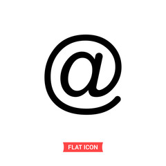 Mail vector icon, at symbol. Trendy, simple flat sign illustration for web