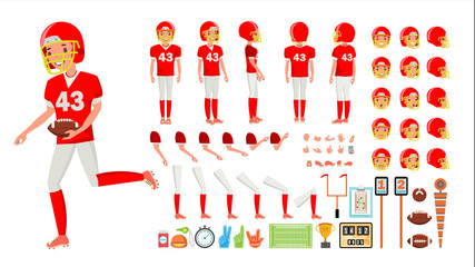 American Football Player Male Vector. Animated Character Creation Set. American Football Man Full Length, Front, Side, Back View, Accessories, Poses Emotions, Gestures. Flat Cartoon Illustration