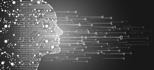 Big data and artificial intelligence concept. Machine learning and cyber mind domination concept in form of men face outline outline with circuit board and binary data flow on silver background.
