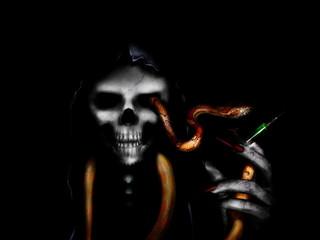 horror drug dealer like devil with temptation snake offers death