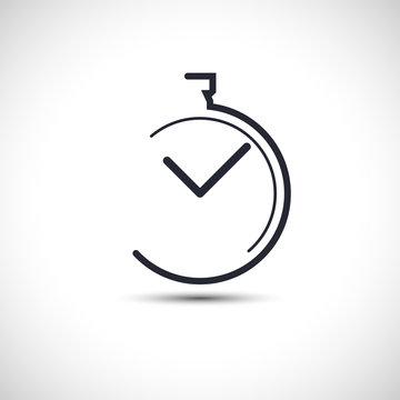 Stopwatch icon flat simple line pocket watch logo vector illustration