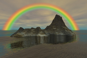 Island in the ocean and rainbow, a tropical landscape, reflection in the water, and a cloudy sky.