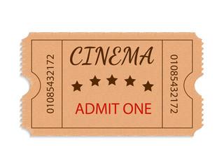 One cinema ticket isolated on white background. Vector illustration