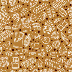 chocolate doodle seamless background