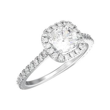 3D illustration isolated silver elegant solitaire decorative diamond ring