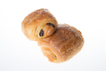 two typical french bakery croissant with chocolate name is chocolatine