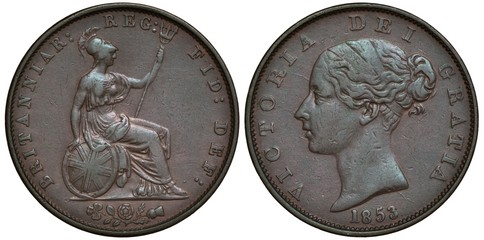 Great Britain British coin 1/2 half penny 1853, seated Britannia holding trident and oval shield, clover, rose and thistle below, head of Queen Victoria left, date below,