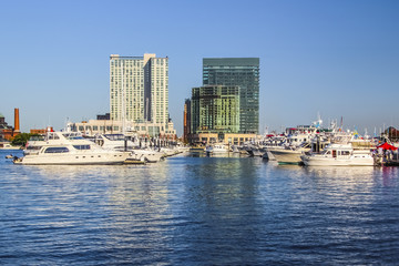 Baltimore Harbor with Yachts and Boats