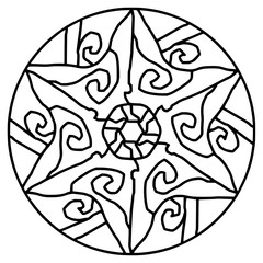 Contour decorative mandala for coloring