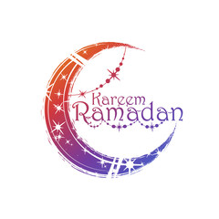 Ramadan kareem islamic greeting arabic calligraphy and moon with a pattern and decoration