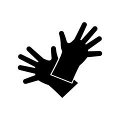 Icono plano guantes de trabajo en color negro