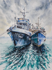 Two fishing boats before a storm anchored in harbor. Picture created with watercolors.
