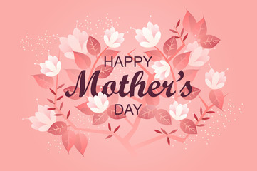 Happy Mother's day banner. holiday. greeting card template. flowers. vector illustration