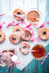 Sugar donuts and sima