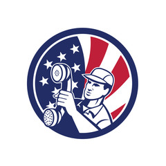 Icon retro style illustration of an American  telephone installation repair technician or  repairman holding phone  with United States of America USA star spangled banner inside circle.
