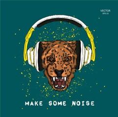 A leopard in headphones. Hipster dog. Vector illustration
