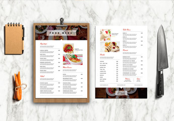 Minimalist Menu Layout