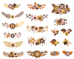 Brown and ochre vector floral bunches with flowers, leaves and twigs for rustic wedding designs, invitations and autumn banners