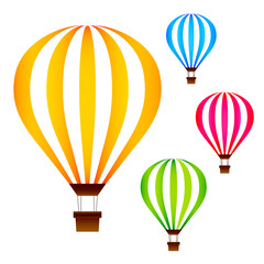 Colorful hot air balloons set isolated on white background vector