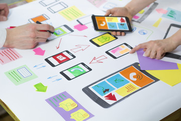 Creative web application development for mobile phones. Engineering sketch of the user interface.