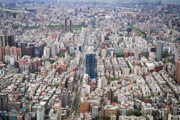 Aerial view of Taipei city from a skyscrapper