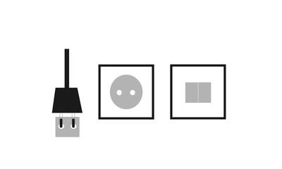 Plug & Button Vector