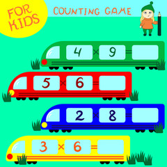 Counting game for preschool children. Multi-colored trains. Decide examples.