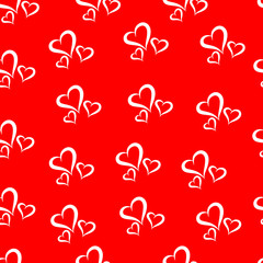Simple vector seamless pattern. White hearts on a red background.
