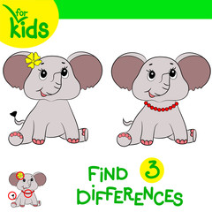 Play  on children's attention. Find differences in two pictures. Baby elephant.