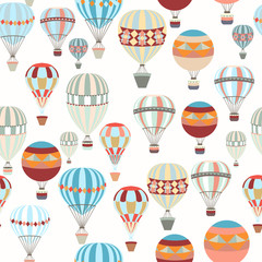 Adventure illustration pattern with air balloons in vintage hipster style