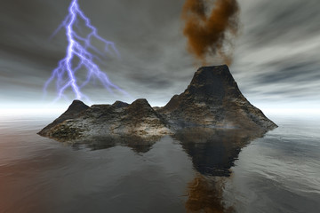 Island, a volcanic landscape, smoke on the crater, reflection in the sea and lightning in the sky.