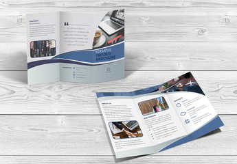 Trifold Brochure Layout with Wavy Elements