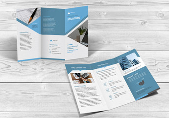 Trifold Brochure Layout with Blue Accents