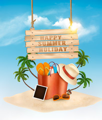 Tropical island with palms, a beach bag and and wooden sign. Vacation vector background