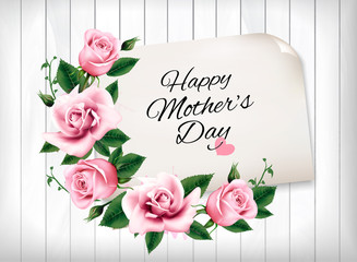 Wall Mural - Mother's Day background with a pink roses and wooden sign. Vector.