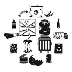 Waste and garbage for recycling icons set in black style for any design