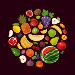 Berries and fruits. Natural food concept. Vector illustration