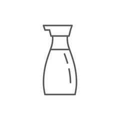 Soy sauce in bottle editable outline icon - pixel perfect symbol of liquid condiment for Chinese or Japanese cuisine.
