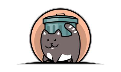 Cat and trash pot