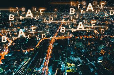 Alphabets with Osaka city in Japan at night