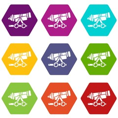 Coastal cannon icons 9 set coloful isolated on white for web