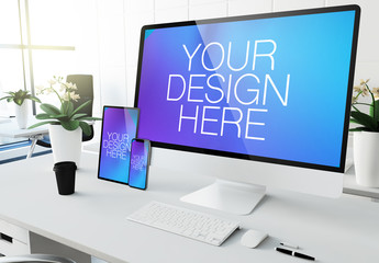 Desktop Computer, Tablet and Smartphone on Desk Mockup