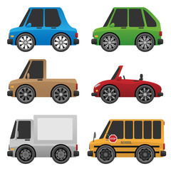 Cute Cars and Trucks Vector Illustration