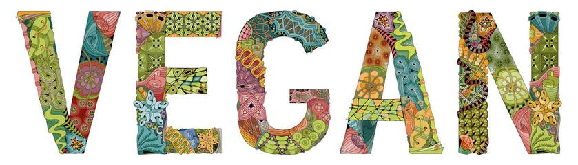 Word vegan. Vector decorative zentangle object